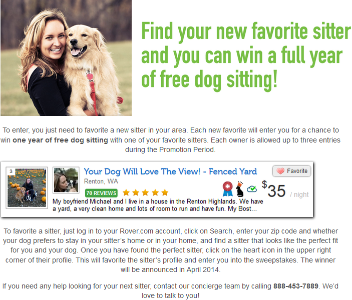 Favorite Sitter Sweepstakes The Dog People By Rover Com