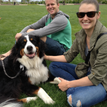 Rover.com Blog // Couple with Bernese Mountain Dog at The Fields park in Portland, Ore.
