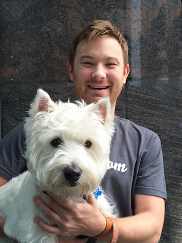 Graham M., Rover City Manager for Seattle, with Rover dog Mr. Bojangles. // Photo credit: Katie Lisko