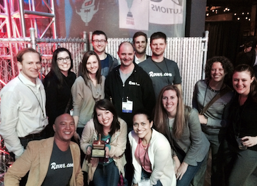 Rover CEO Aaron Easterly and members of the Rover team at the GeekWire 2014 Startup of the Year gala, May 9, 2014