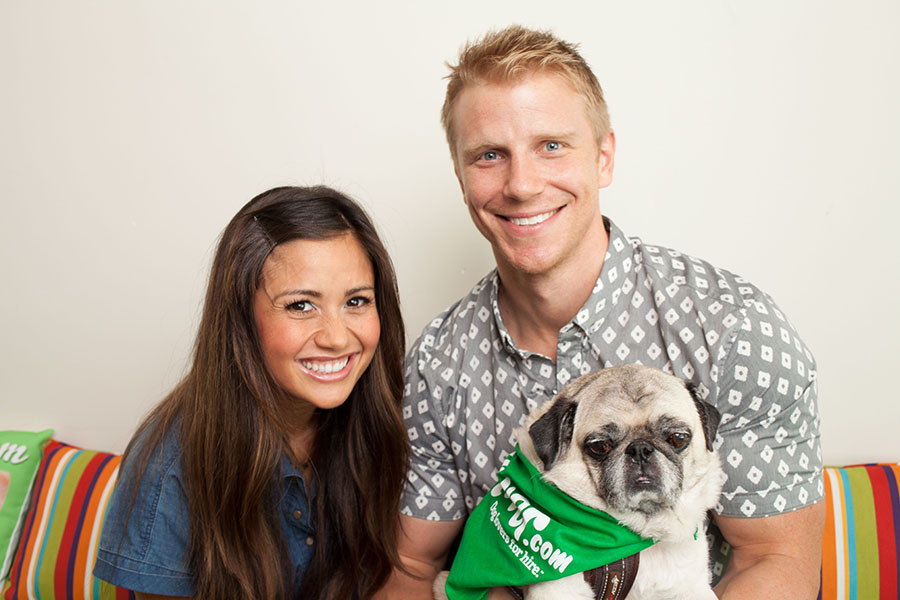 Sean Lowe and Catherine Giudici at Rover.com with Rover dogs