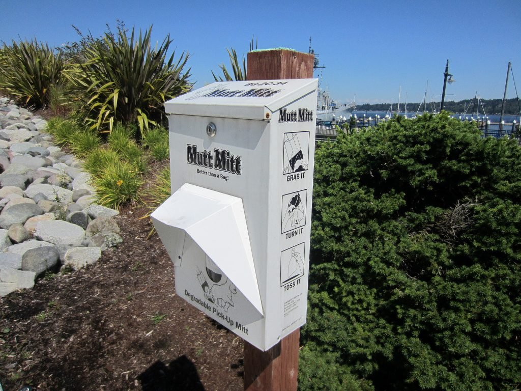 mutt mitt box of poop bags at beach