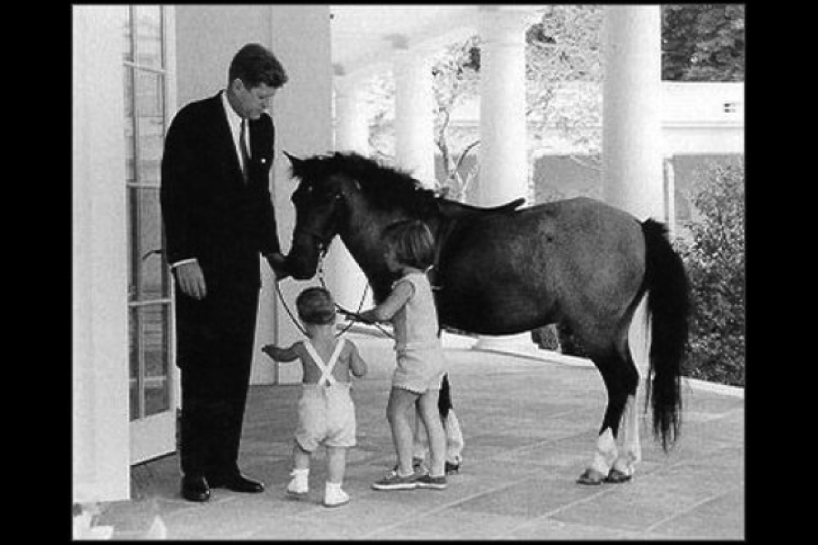 John F. Kennedy and his pony, Macaroni