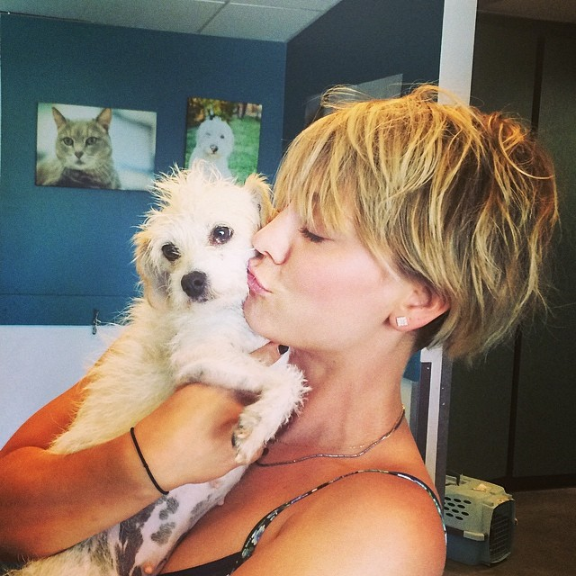 Kaley Cuoco and rescue dog
