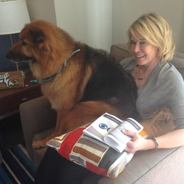 Chelsea Handler and dog chuck