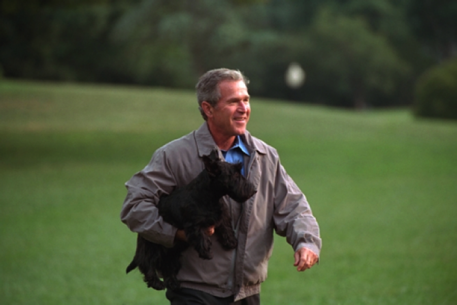 George W. Bush and his Yorkie dog
