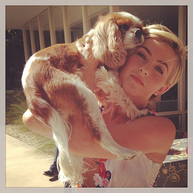 Julianne Hough and her dog, a cavalier king charles spaniel