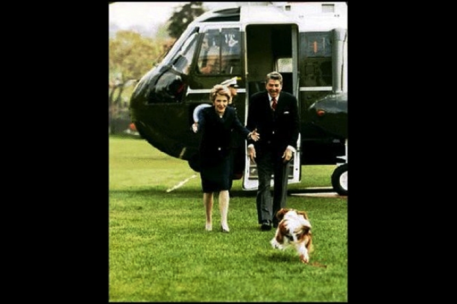 Ronald Regan and his dog, King Charles Spaniel, Rex