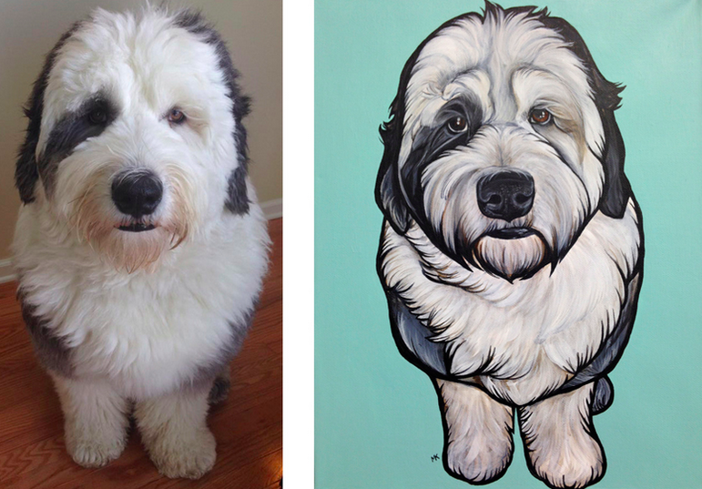 Sheepdog with his portrait