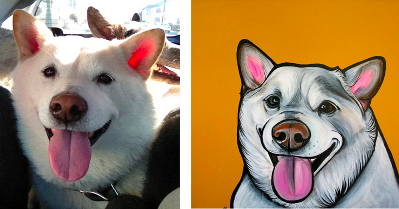 Pawblo Picasso dog portrait