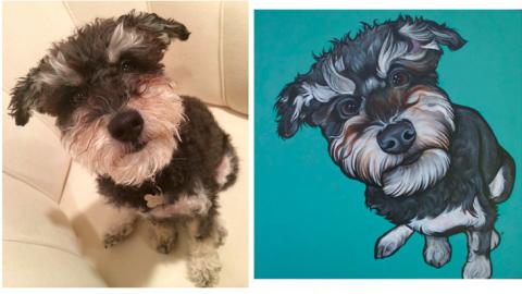 Pawblo Picasso dog portrait