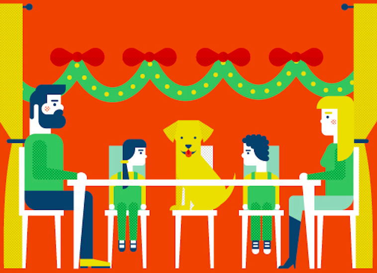 Holiday travel infographic - dog and family around the table