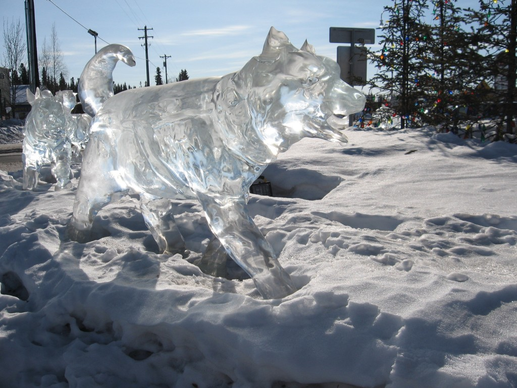 husky ice sculpture