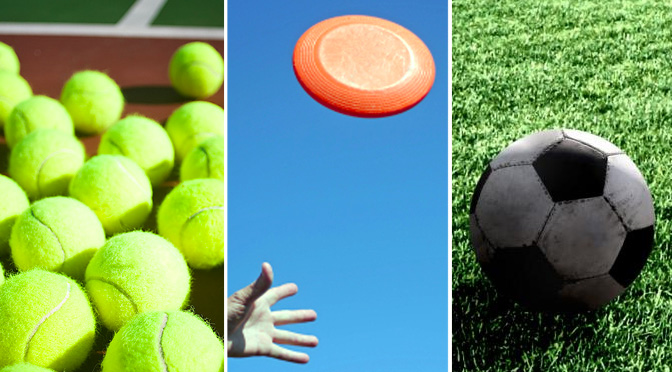 tennis ball frisbee soccer ball