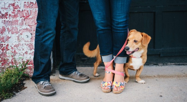 engagement photos with dog leash tangle