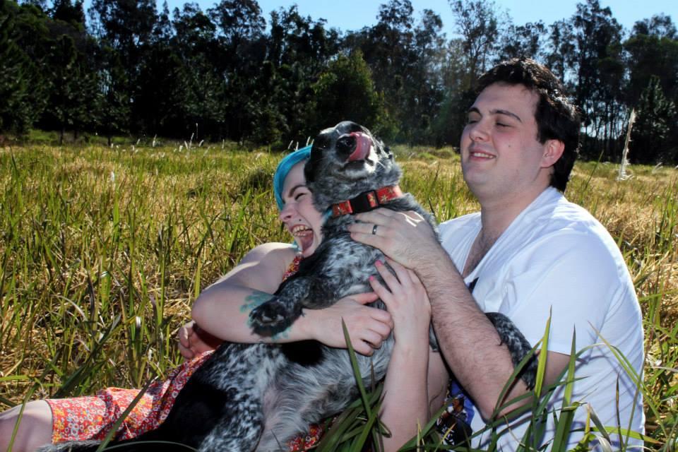 lick derp engagement dog photo