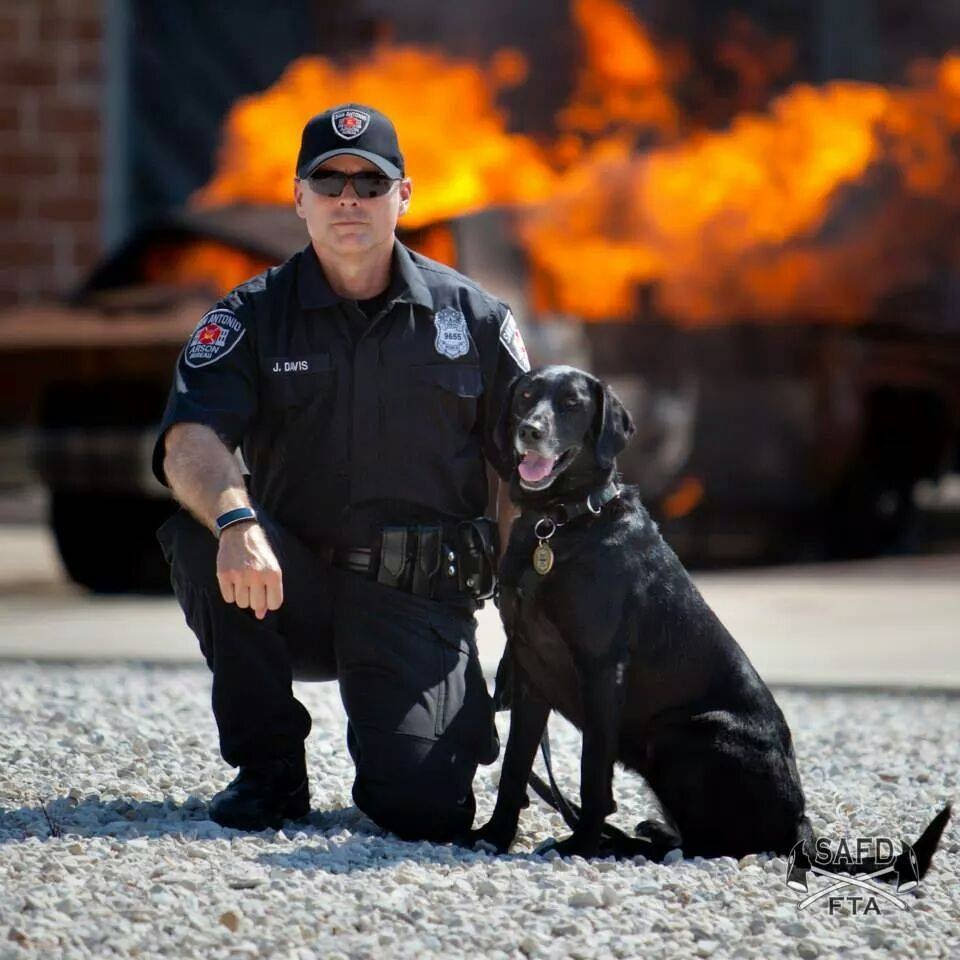 An arson dog and her handler, via State Farm