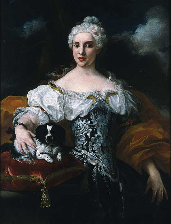 Marco Benefial - portrait of a lady with a dog, 1730