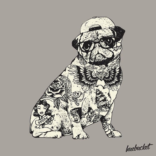 huebucket pug life tattoo print