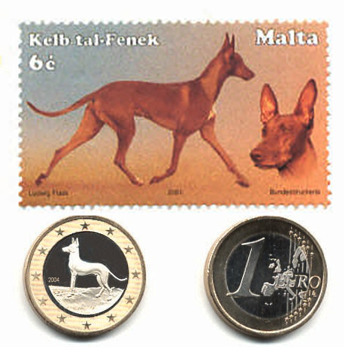 malta coin and stamps pharaoh hound