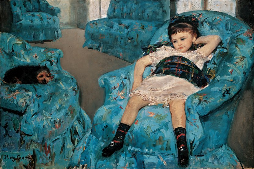 mary cassatt - little girl in a blue armchair painting