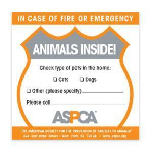 aspca fire and emergency sticker