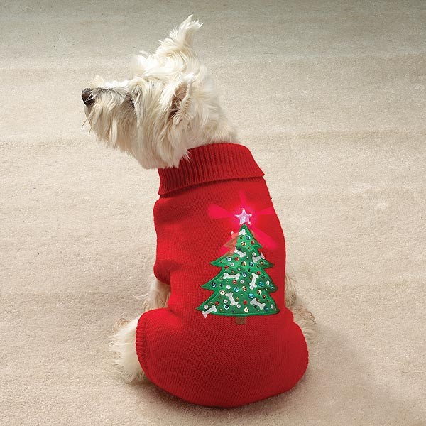 light up christmas tree dog sweater