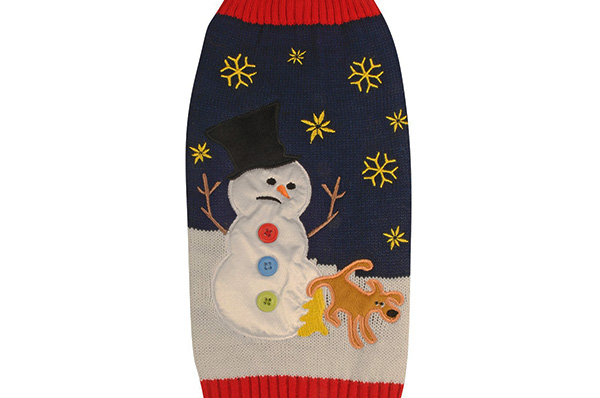 yellow snow christmas holiday dog sweater