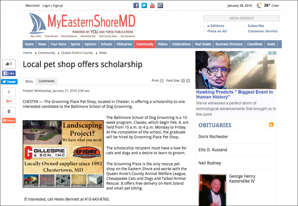 Pet Shop Scholarship