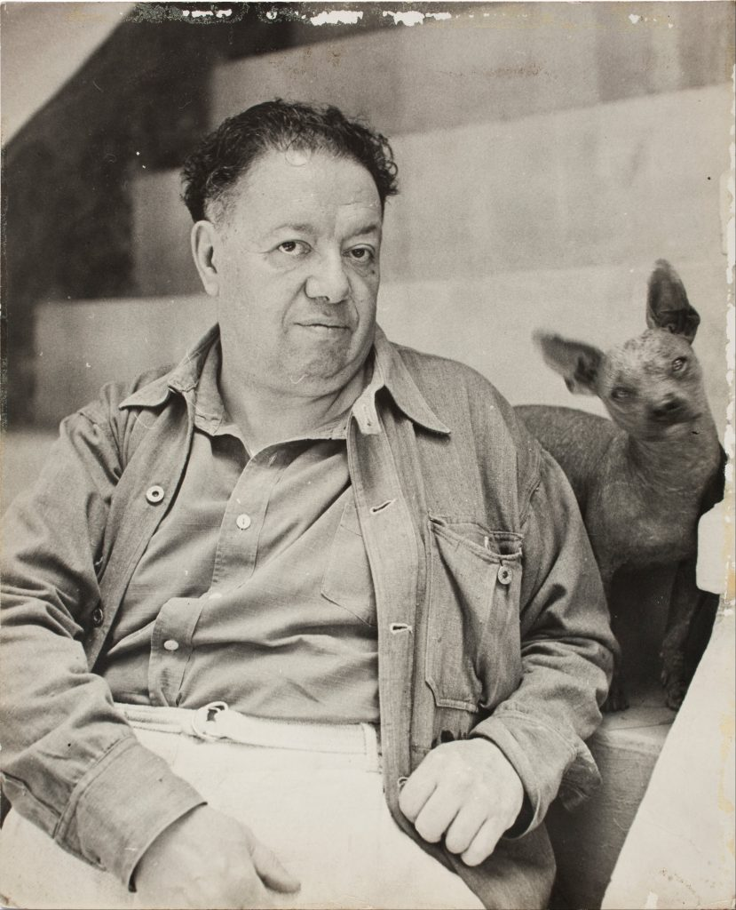 Diego Rivera with one of his beloved Xolos (via wikimedia)