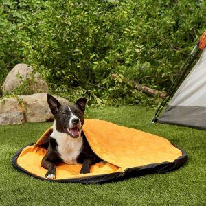 dog in a yellow Hurtta sleeping bag/dog bed