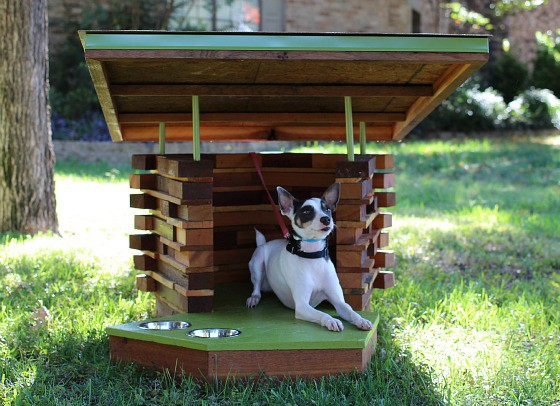 woofcycled log cabin dog house