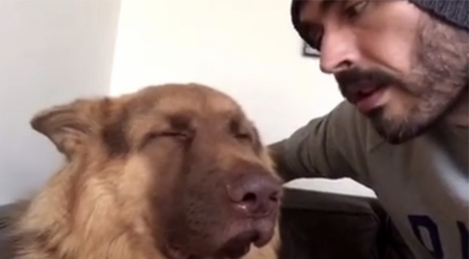 Russel Brand singing to his dog Bear