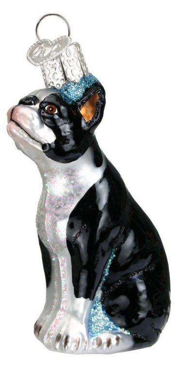 Boston Terrier Glass Ornament