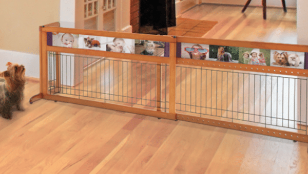 Freestanding wood pet gate on wood floor