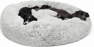 Shag Fur Donut Cuddler cozy dog bed
