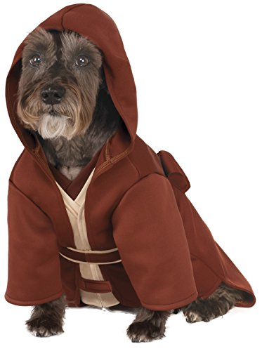 A dog wears a Jedi robe, perfect for a large dog costume.