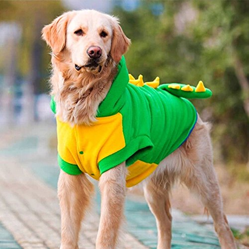 A golden lab wears a dinosaur large dog costume.