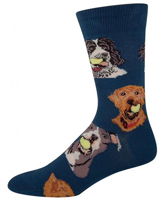 blue sock with dogs holding tennis balls on it