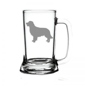 glass beer mug with silhouette of retriever