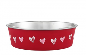 Loving Pets stainless steel bowl with heart print gift for dog