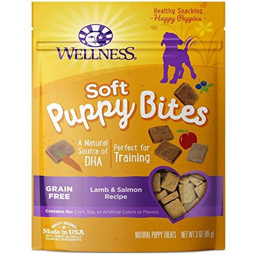 bag of Wellness soft puppy training treats, lamb and salmon