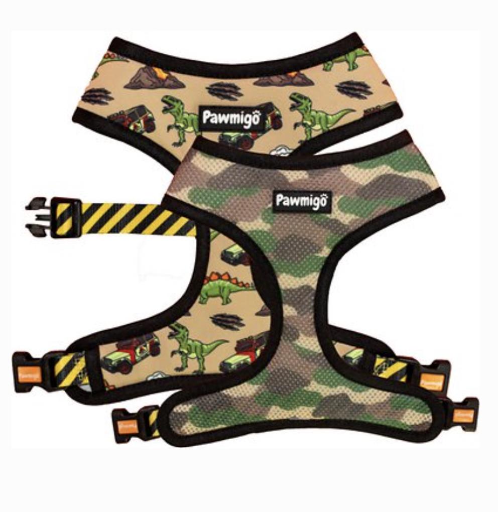 Jurassic Bark reversible harness, camo and dinosaur prints