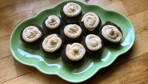 Homemade Dog-Friendly Carob Cupcakes with Peanut Butter Frosting