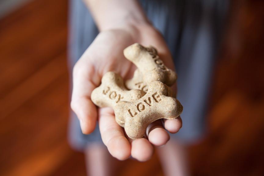 hand holding bone-shaped treats