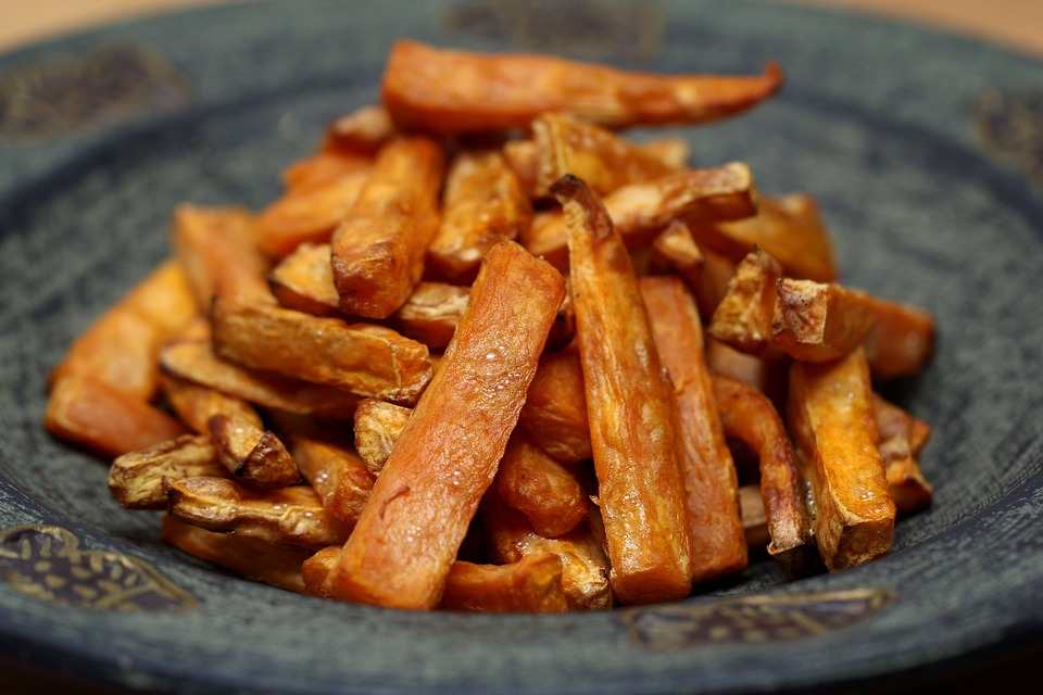 A plate of sweet potato fries.