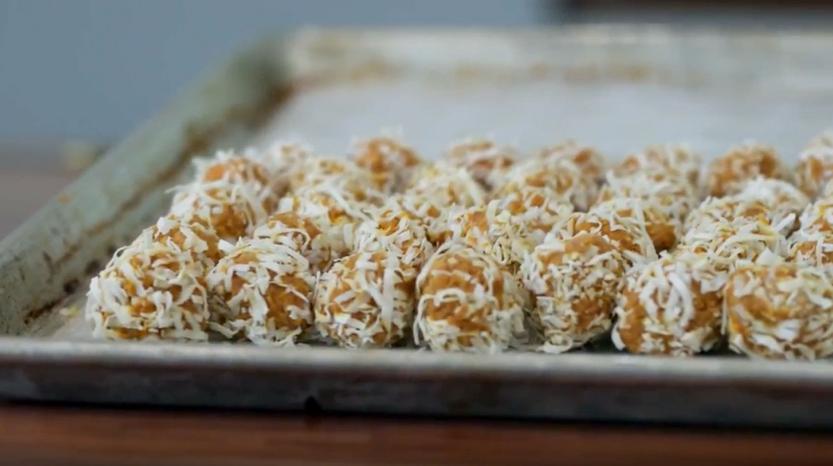 Thanksgiving dog treats like these no-bake coco nutter balls are easy to make
