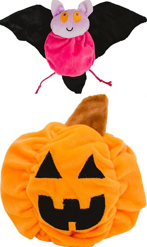 Plush bat and pumpkin Halloween dog toys