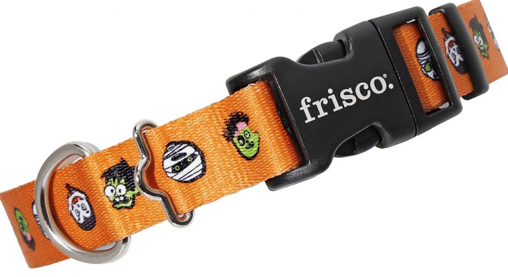 Frisco monster heads on orange dog collar