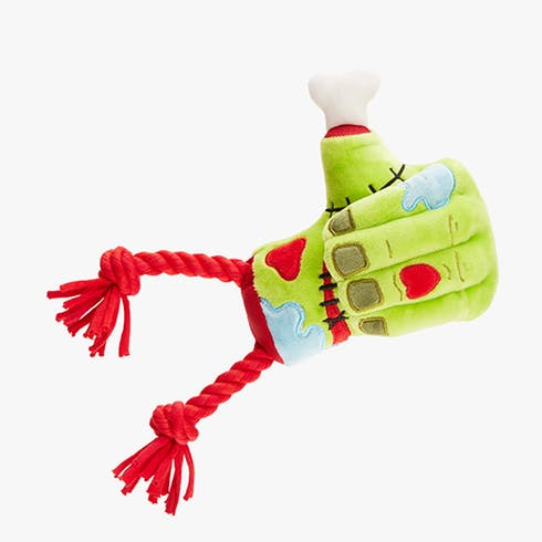 Zombie hand plush Halloween dog toy